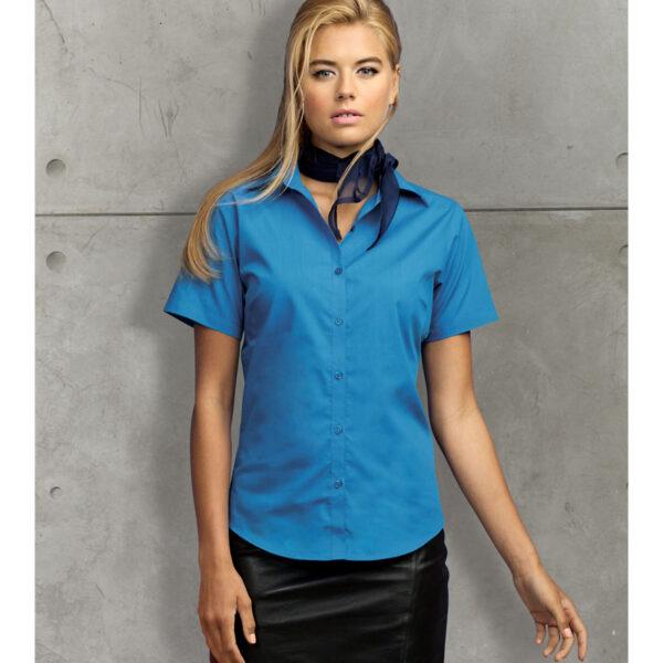 Women's Short Sleeve Poplin Waitress Blouse